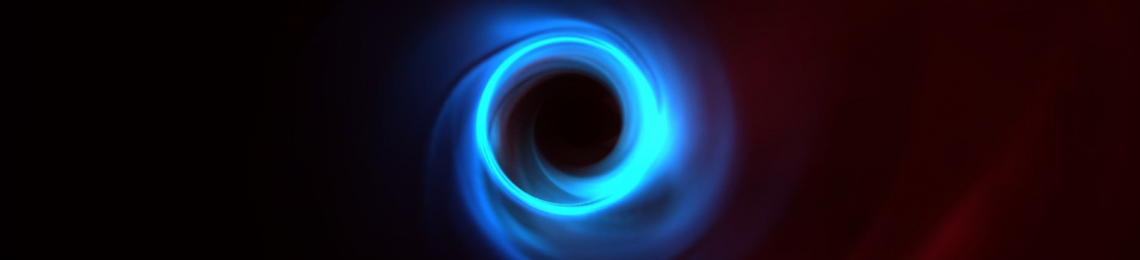 Simulation of M87 black hole showing the motion of plasma as it swirls around the black hole. The bright thin ring that can be seen in blue is the edge of what we call the black hole shadow.