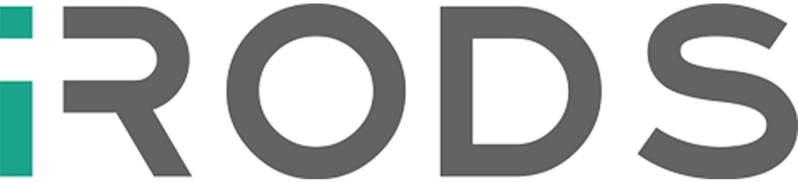 "The iRODS logo, with a green ""i"" and grey ""RODS"" is displayed."