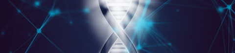 An image of part of a DNA helix on a blue background.